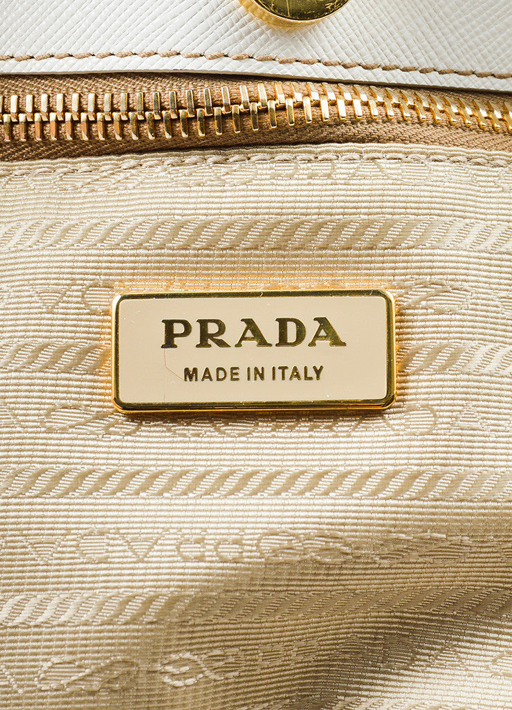 "Cream-White Prada Leather ""Saffiano Lux Small Double Zip"" Tote Handbag Brand"