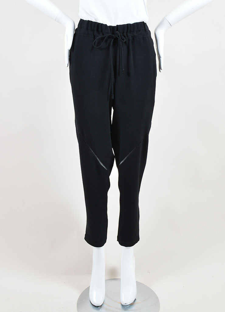 "Rag & Bone Black Sheer Embroidered Trim ""Alex"" Jogger Trouser Frontview"