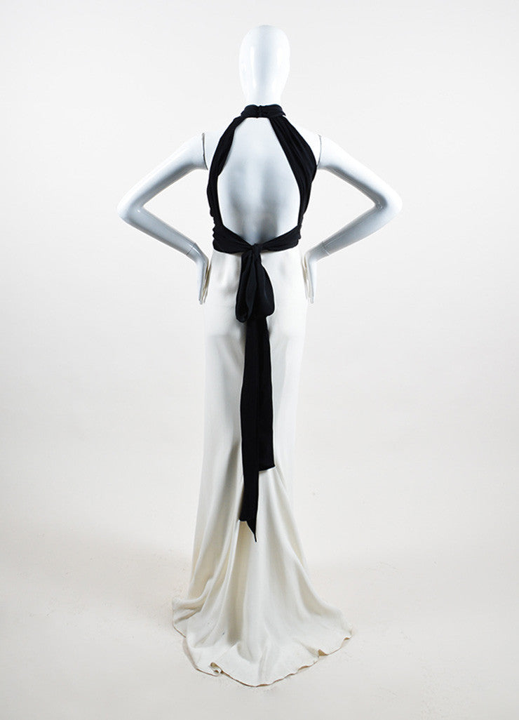 Cream and Black Ralph Lauren Silk Tie Draped Sleeveless Halter Gown Backview