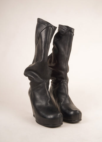 Rick Owens Black Leather Abstract Asymmetrical Knee High Wedge Boots Frontview