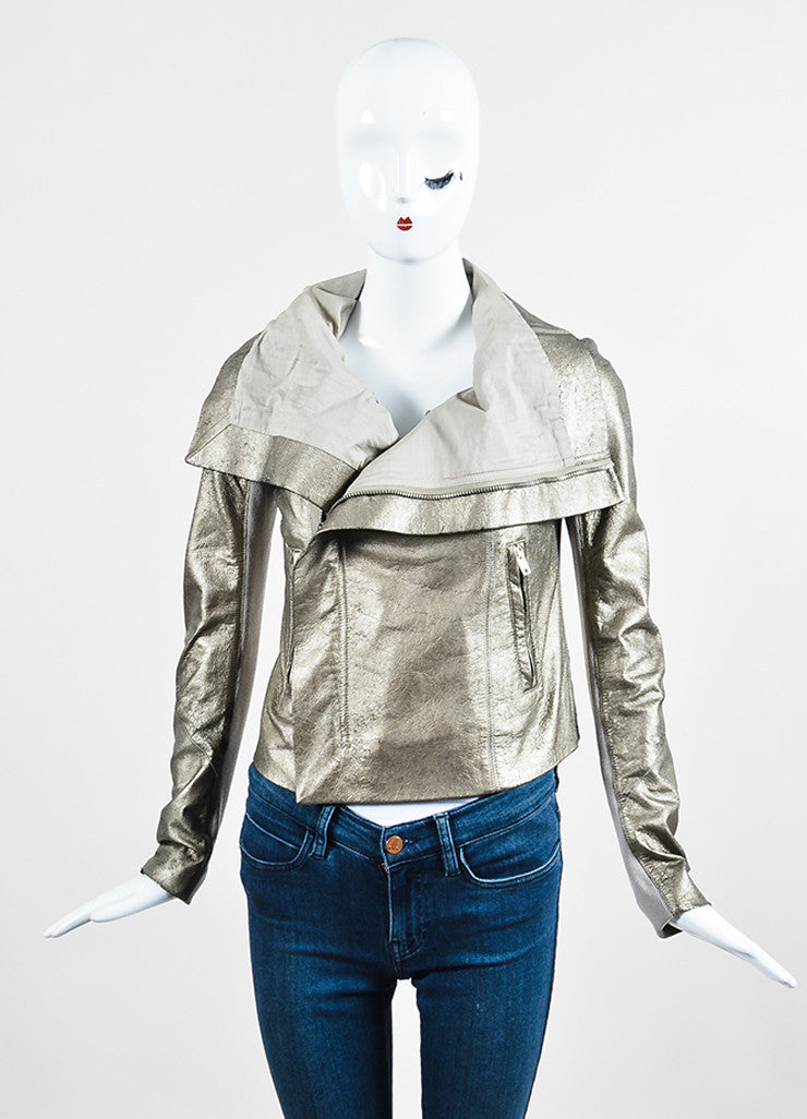 Rick Owens Metallic Gold Crackled Leather Wool Knit Zip Moto Jacket Frontview 2