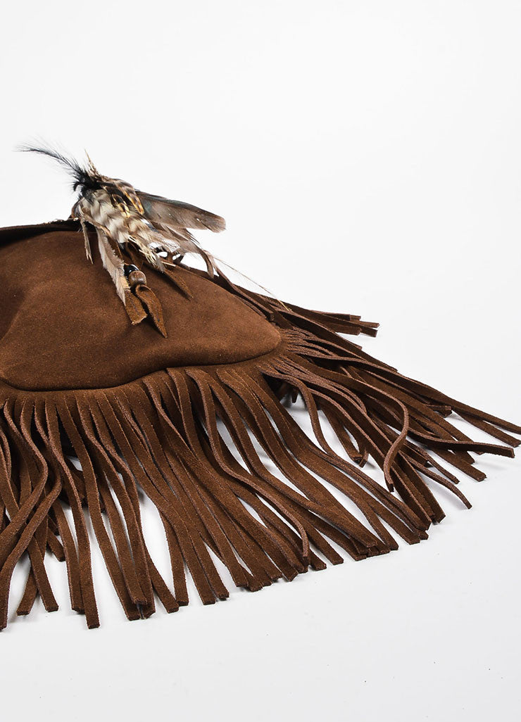 "Saint Laurent Brown Suede Fringe Feather ""Anita"" Flat Bag Bottom View"