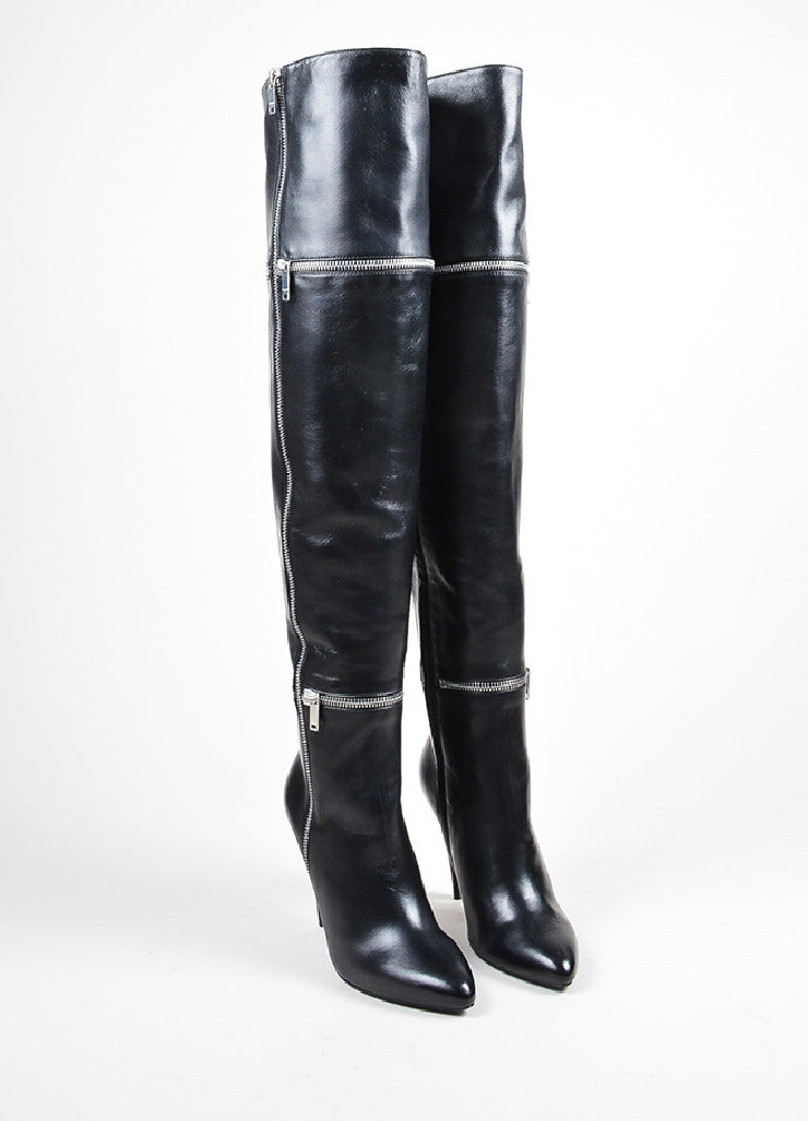 "Black Saint Laurent Leather Zipper ""Fetish"" Thigh High Boots Frontview"