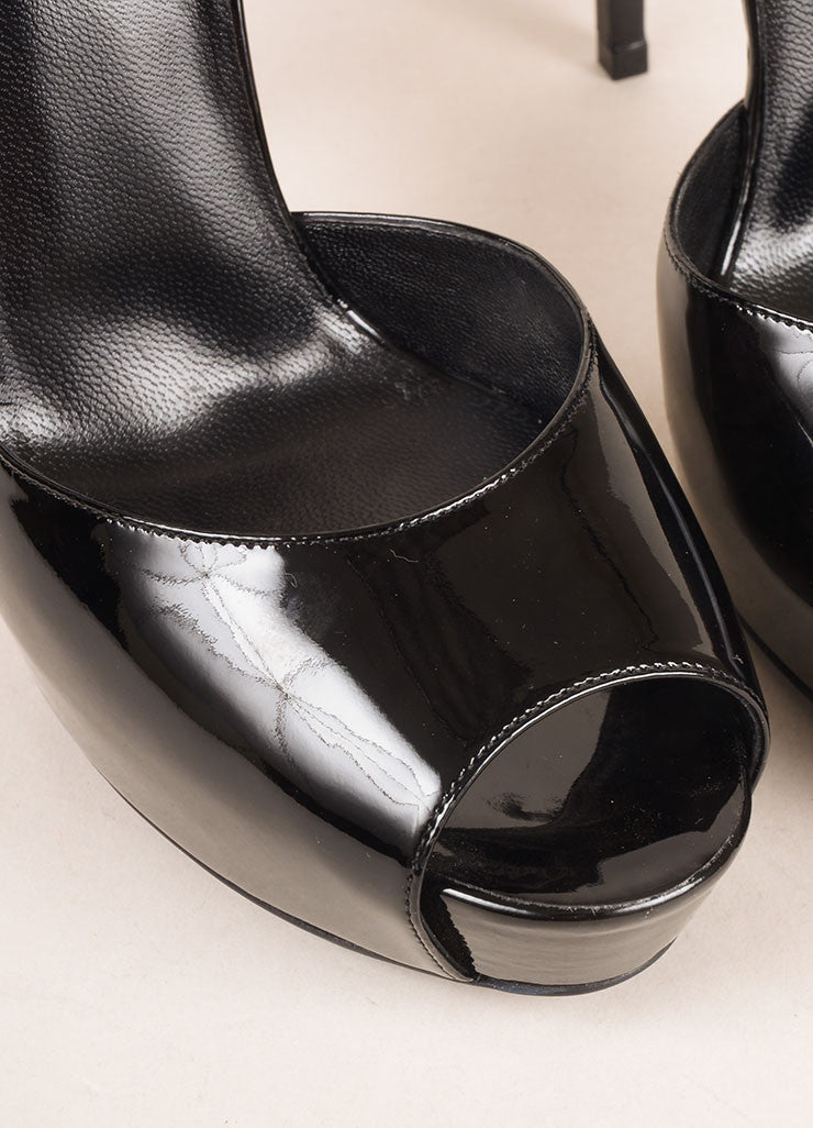 Saint Laurent New In Box Black Patent Leather Peep Toe Sandals Detail