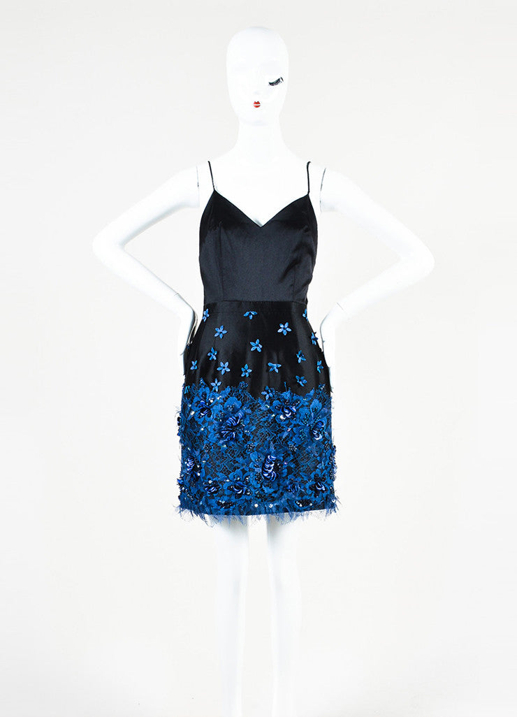 Samantha Sleeper Black and Blue Sequin Lace Spaghetti Strap Dress Frontview