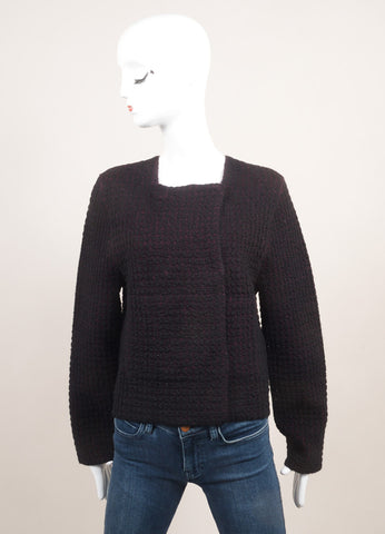 "Sonia Rykiel New With Tags Black and Pink Waffle Knit ""Double-Face"" Long Sleeve Jacket Frontview"