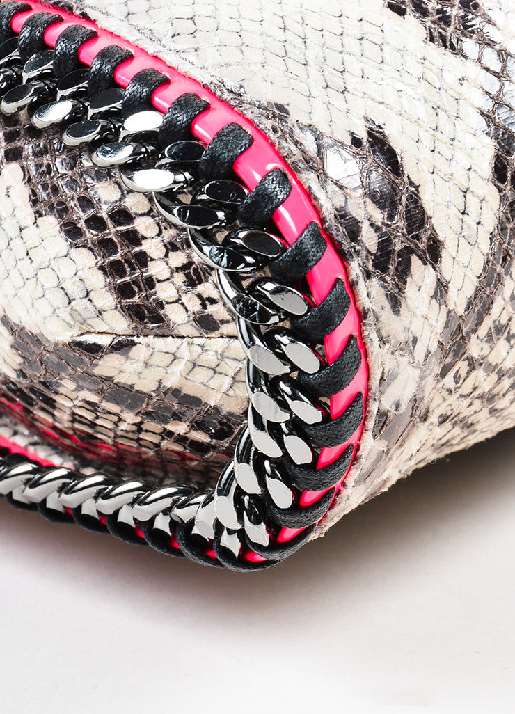 "Stella McCartney Grey and Neon Pink Python Print Faux Leather Chain ""Falabella"" Bag Detail"
