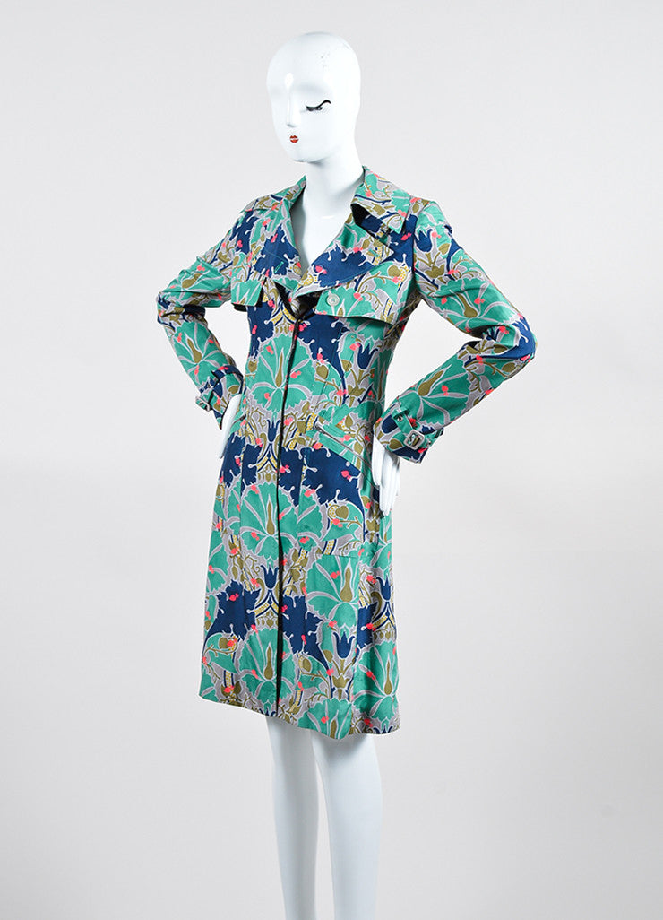 Green, Blue, and Pink Stella McCartney Silk Blend Printed Shirt Dress Sideview
