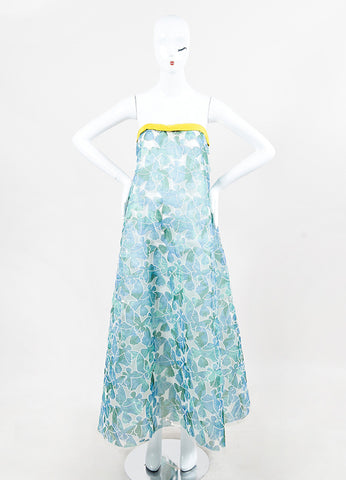 Thakoon Blue Green Embroidered Butterfly Strapless Maxi Dress front
