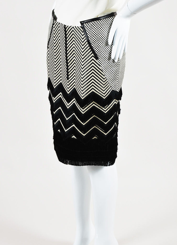 Black and White Tom Ford Leather Trim Mixed Weave Fringed Pencil Skirt Sideview