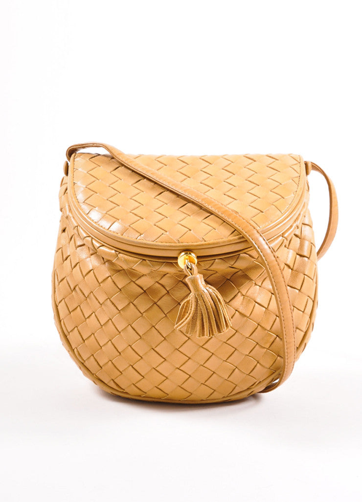 Bottega Veneta Tan Intrecciato Woven Leather Small Flap Cross Body Bag Frontview