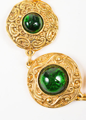Gold and Green Chanel Gripoix Stone Medallion Bracelet Detail