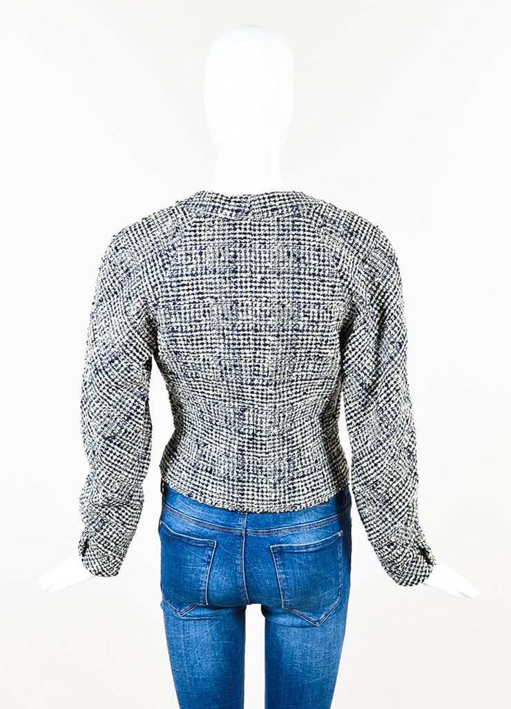 Chanel Navy and Cream Tweed Double Breasted Cropped Jacket Backview
