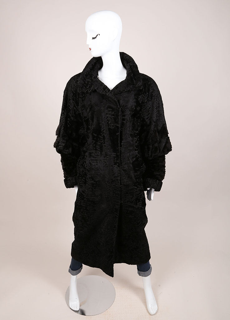 Fendi Black Textured Fur Long Coat Frontview