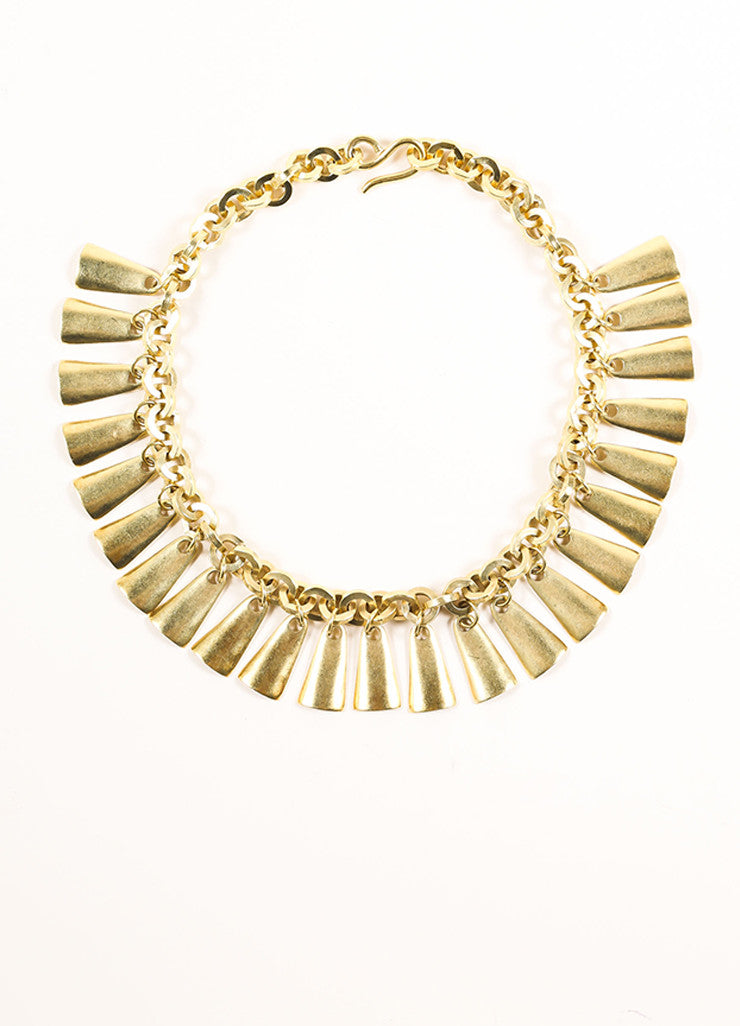 Vintage Gold Toned Dangle Bib Necklace Frontview