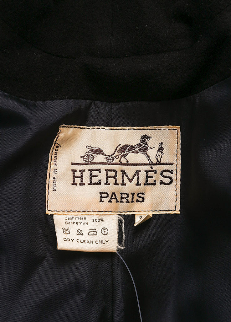 "Hermes Black ""H"" Button Double Breasted Longline Cashmere Coat Brand"