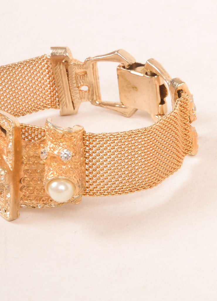 Hobe Gold Toned Metal Mesh Buckle and Rhinestone Accent Bracelet Detail