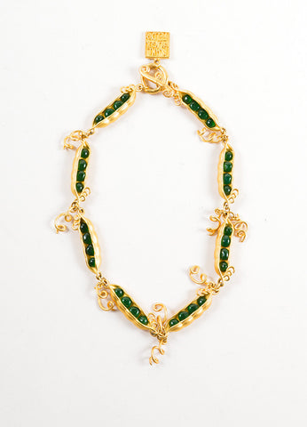 Gold Toned and Green Peapod Necklace