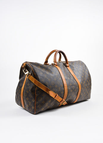 "Brown Louis Vuitton Coated Canvas ""Keepall Bandouliere 50"" Duffle Bag Sideview"