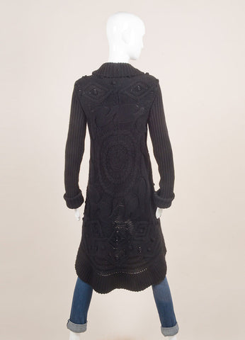 Valentino Black Cable and Popcorn Knit Wool and Velvet Tie Long Sleeve Sweater Cardigan Backview
