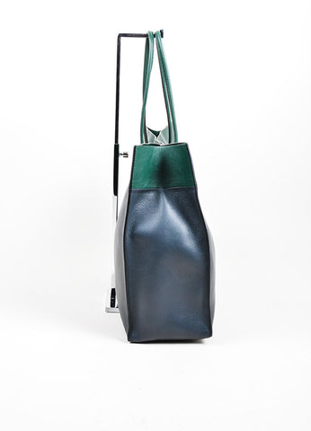 "Forest Green and Charcoal Grey Valentino ""Shopping Bag""  Leather Tote Sideview"