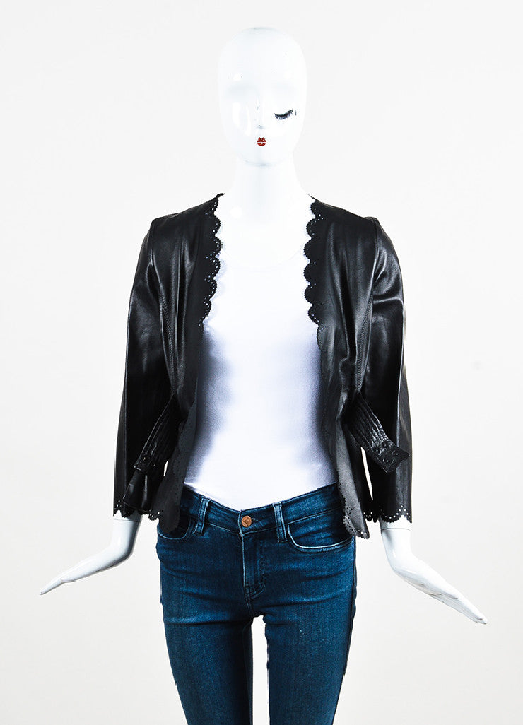 Valentino Black Leather Bow Cropped Cut Out Scalloped Jacket Frontview