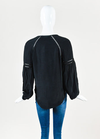 "Veronica Beard Black Silk Perforated ""Alpine"" Long Sleeve Boho Blouse Backview"