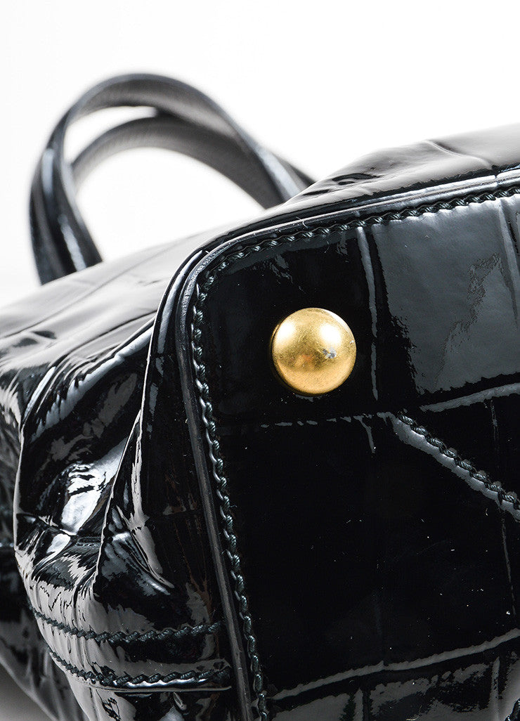 "Yves Saint Laurent Black Patent Leather Grommet Detail Embossed ""Sac Palma"" Tote Bag Detail"