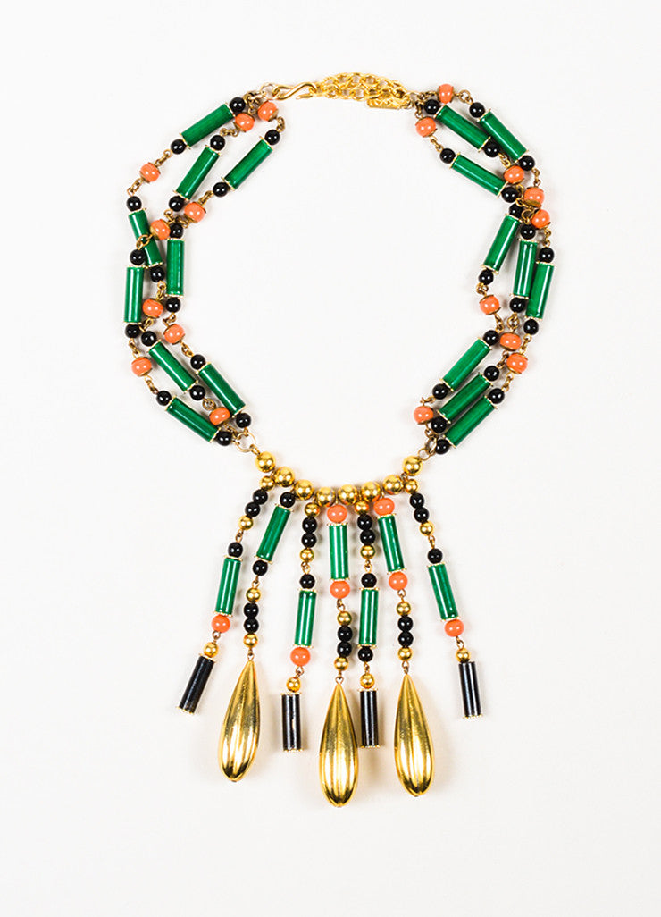 Yves Saint Laurent Gold Toned, Green, and Coral Beaded Drop Chandelier Strand Necklace Frontview
