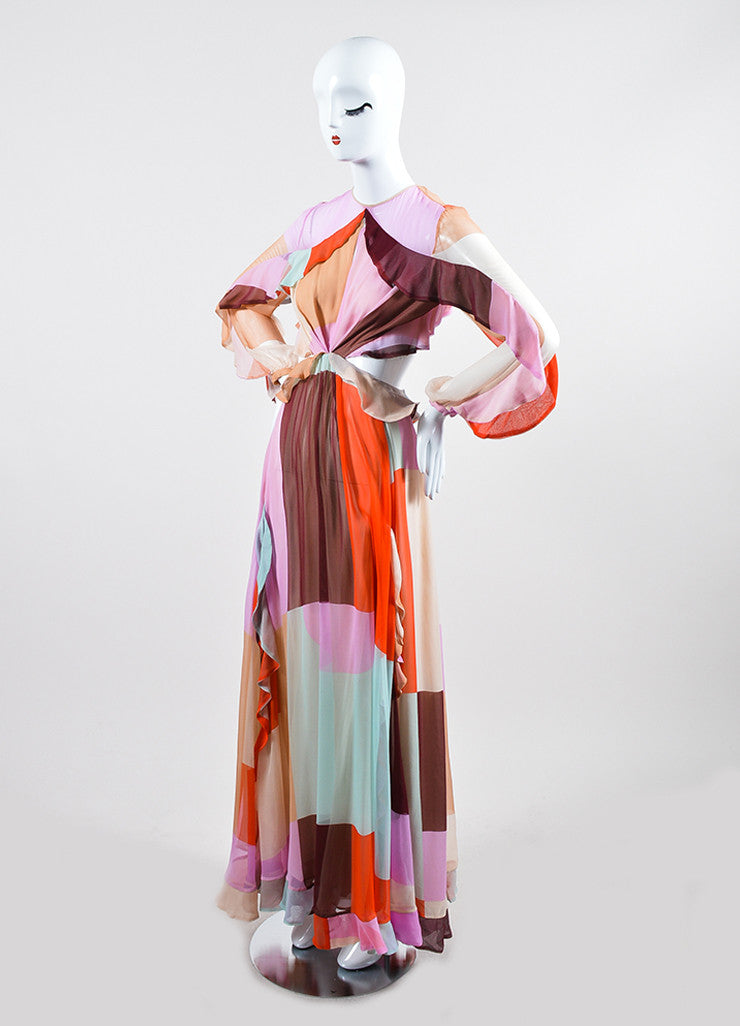 "Multicolor Zimmermann Pastel Chiffon ""Rhythm Flute"" Long Sleeve Gown Sideview"