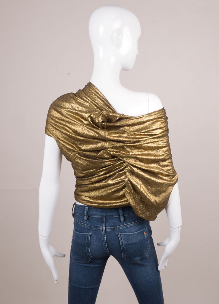 Gold and Black Wool Ruched Sleeveless Top