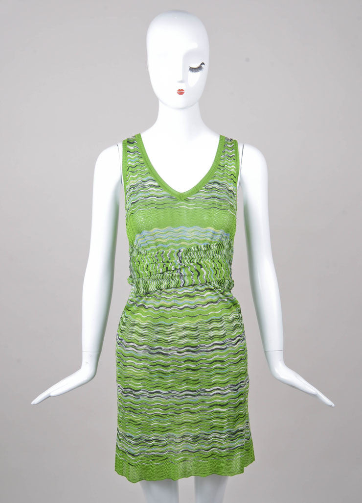 Green, Navy, and White Sleeveless Knit Tie Dress