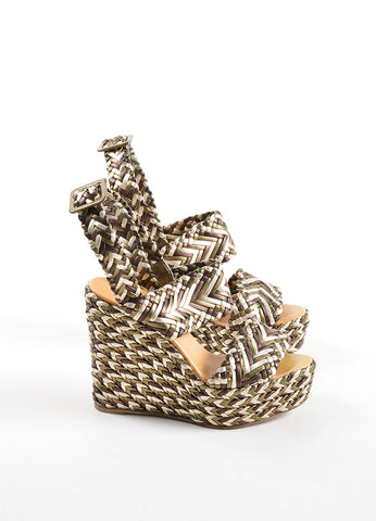 Hermes Brown, Olive and Cream Leather Metallic Braided Platform Wedge Sandals Side