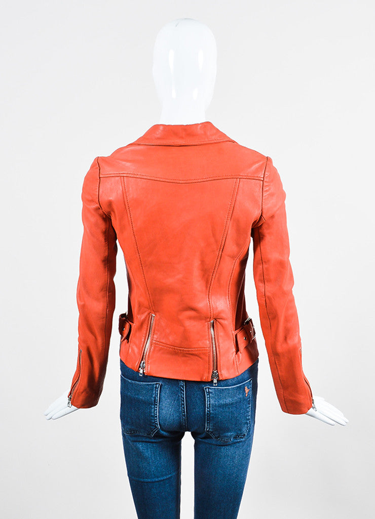 Deep Orange Maje Leather Quilted Moto Jacket Backview