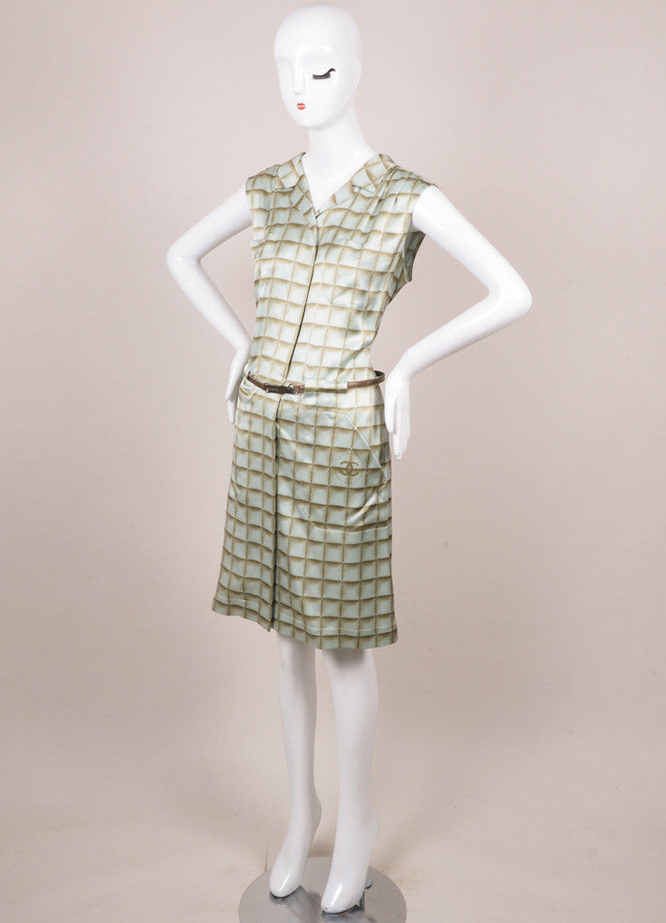 Chanel Light Blue and Light Green Silk Square Print Belted Shirt Dress Sideview