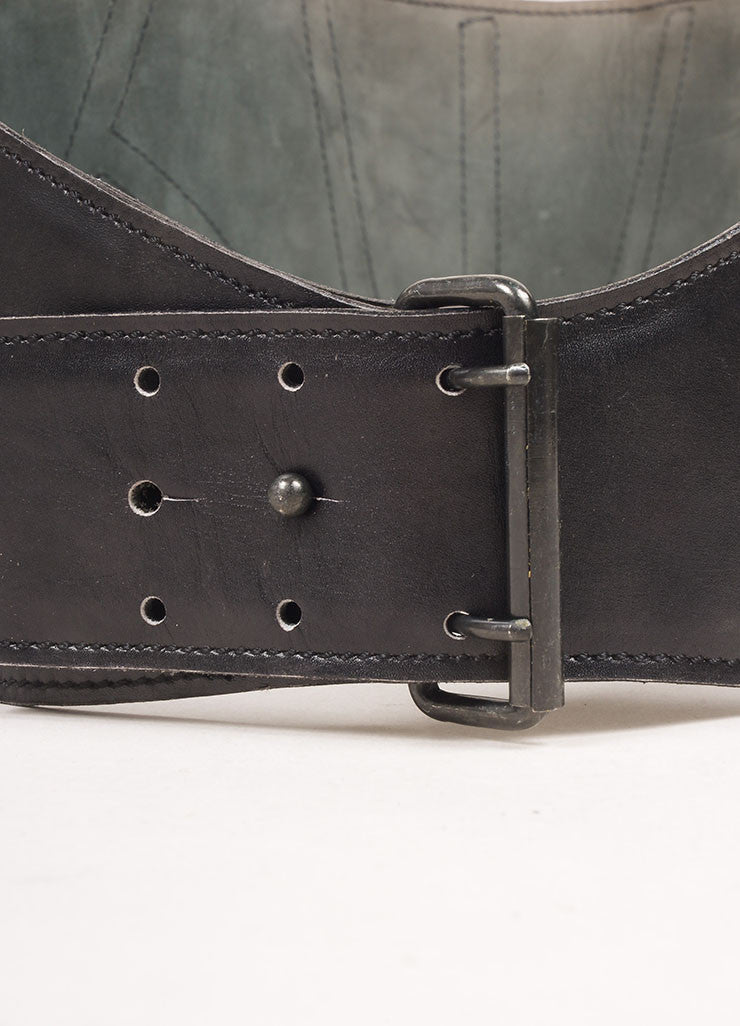 Alaia Black Leather Wide Belt Detail