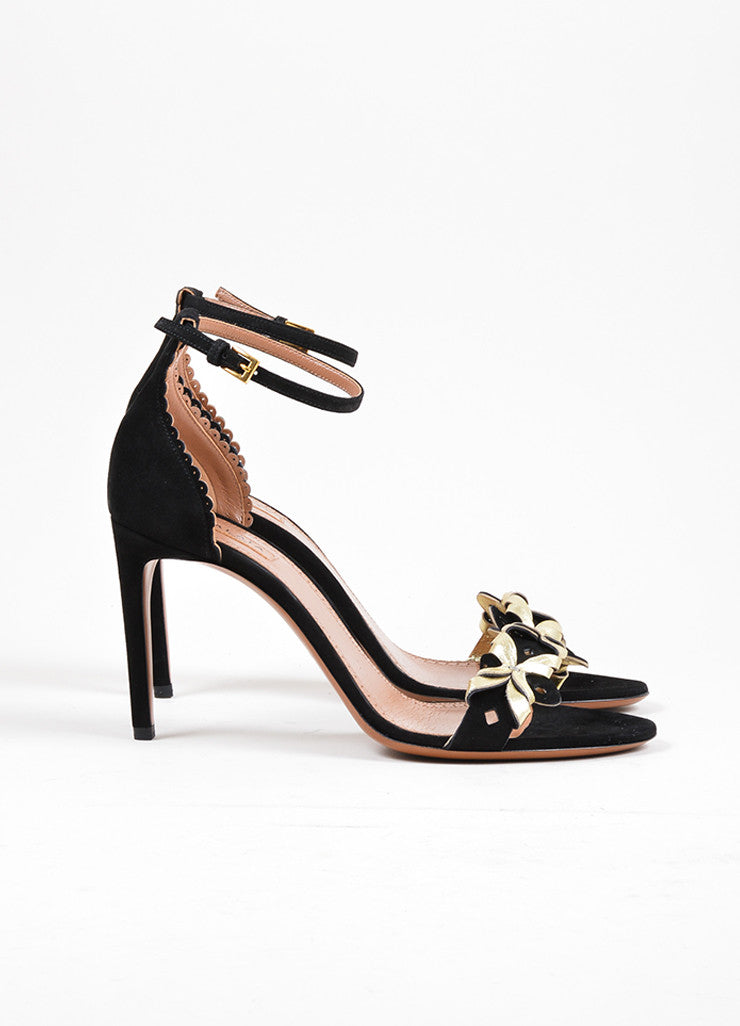 Black and Gold Toned Alaia Suede Leather Cut Out High Heel Sandals Sideview