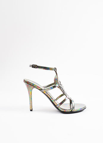 "Alexander McQueen ""Oil Slick"" Leather Skull ""Polar Lights"" Sandals Sideview"