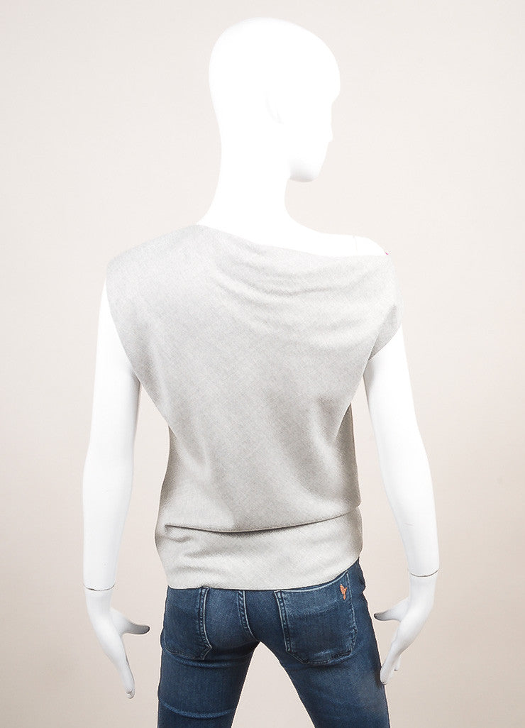 Altuzzara New With Tags Grey Sleeveless Boatneck Asymmetrical Top Backview