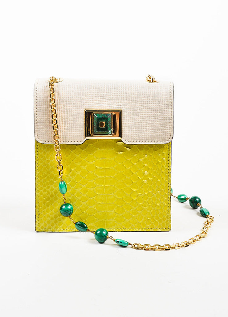 """Chartreuse"" Yellow and Cream Andrew Gn Python Leather Shoulder Bag Frontview"