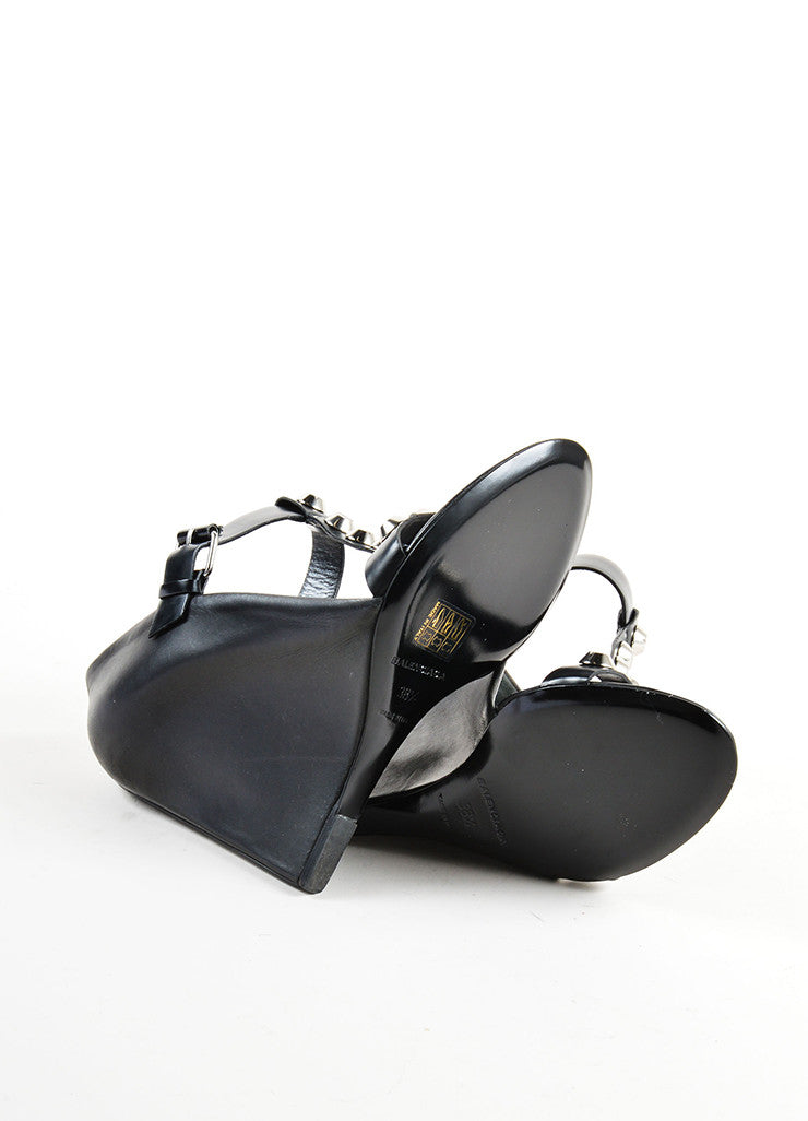 Balenciaga Black and Silver Leather Studded T Strap Wedges Outsoles