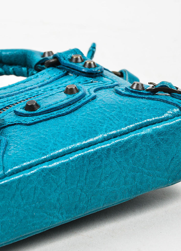 "Balenciaga Teal Blue Leather Studded Classic Mini ""Tiny First"" Bag Key Ring Bottom View"