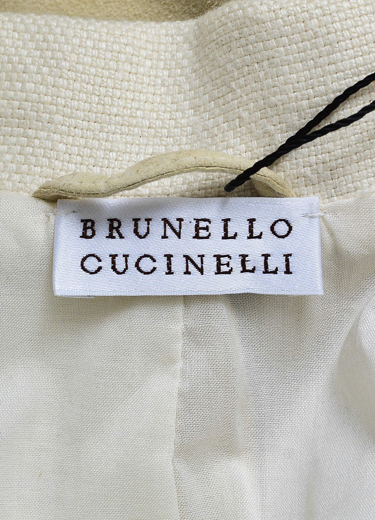 Brunello Cucinelli Beige Suede Leather Cap Short Sleeve Long Vest Jacket Brand