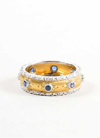 "Buccellati Sapphire and 18K Yellow Gold ""Eternelle Capri"" Ring Frontview"