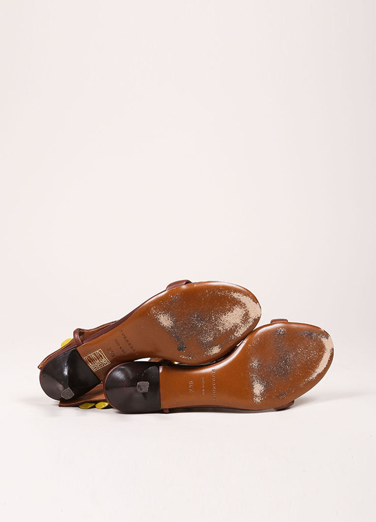 "Burberry Prorsum Brown and Yellow Beaded T-Strap Leather Kitten Heel ""Ligonier"" Sandals Outsoles"