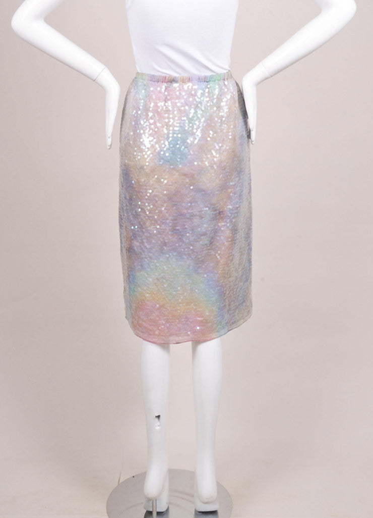 Carven New With Tags Lavender and Green Silk Sequin Embellished Straight Skirt Backview