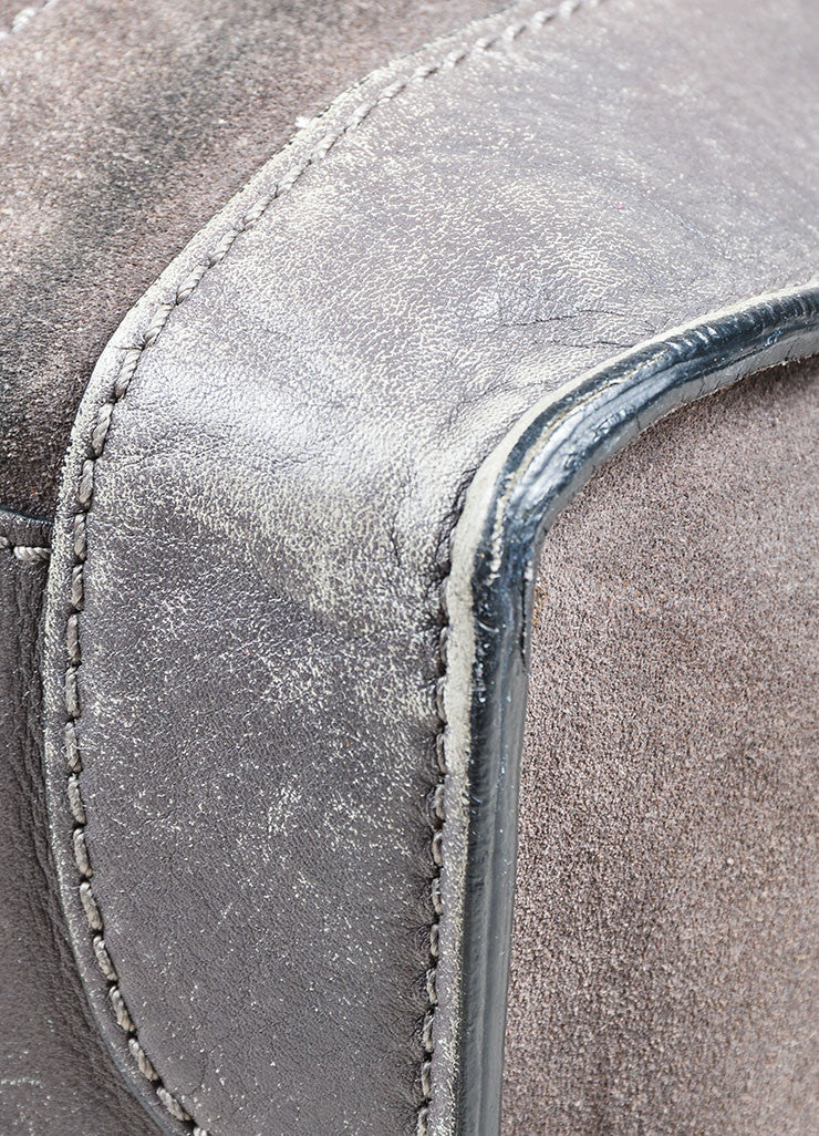 Grey Celine Suede and Leather Mini Luggage Tote Bag Detail 2