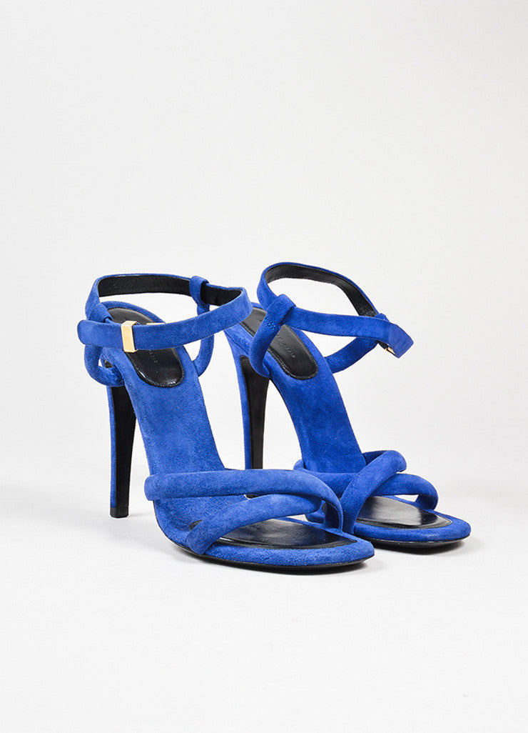 Dark Blue Celine Suede Leather Cross Strap Heeled Sandals Frontview