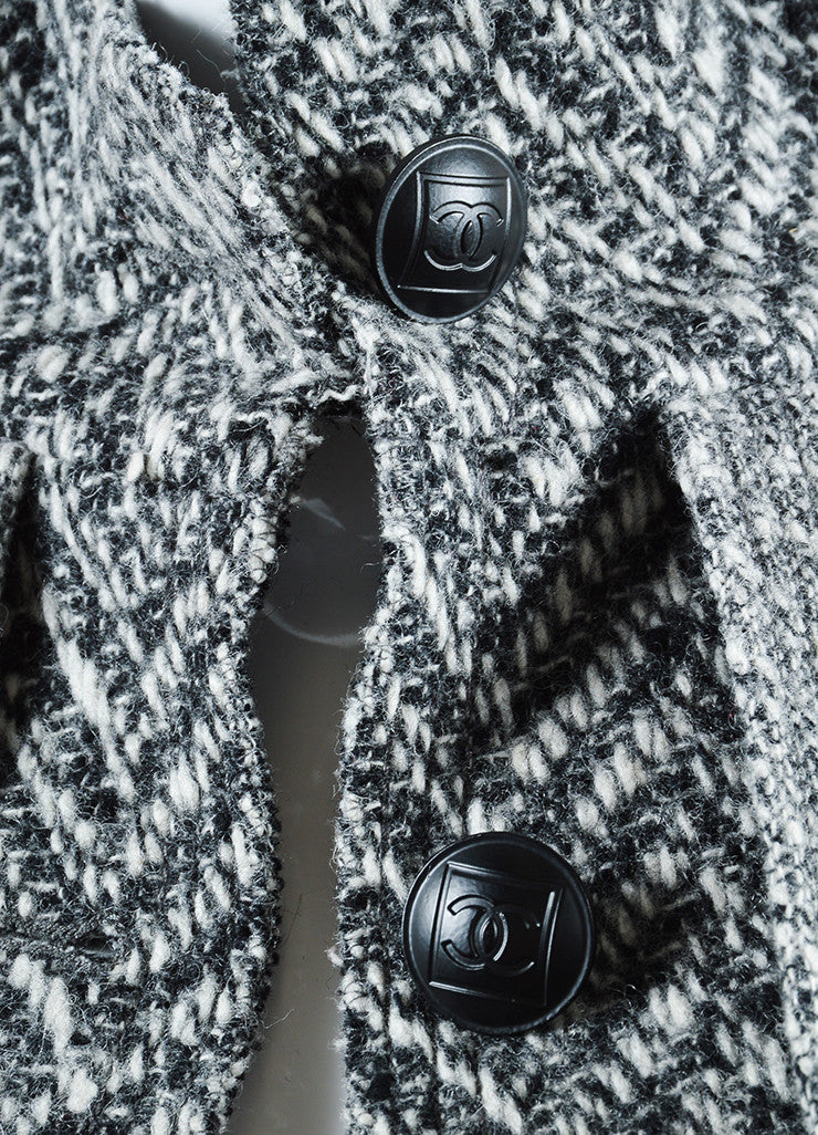 "Chanel Black and White Wool Tweed Zig Zag ""CC"" Button Down Coat Detail"
