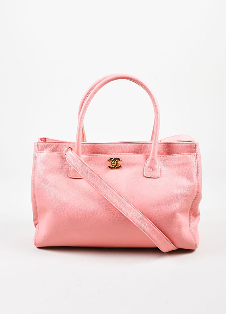 "Chanel Pink and Gold Toned Pebbled Leather 'CC' Turnlock ""Cerf"" Tote Bag Frontview"